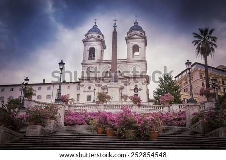 Spanish Steps at morning, Rome, Italy  - stock photo