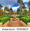Spanish style garden, High dynamic range photo HDR - stock photo