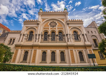 Spanish Synagogue in Prague. It  is is a Moorish Revival synagogue owned by the Jewish Museum of Prague, and is used as a museum and concert hall. - stock photo