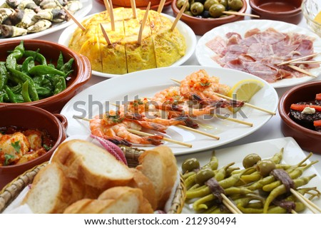spanish tapas bar food variety - stock photo