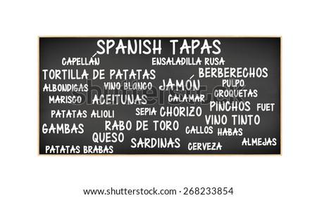 Spanish Tapas Blackboard: Jamon (Cured Ham), Aceitunas (olives), Vino Tinto (Red Wine) Albondigas (meatballs), Queso (Cheese), Marisco (Shellfish), Cerveza (Beer) Croqueta (Crouquet) - stock photo