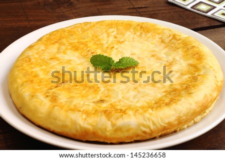Spanish tortilla or Spanish omelette made with potatoes