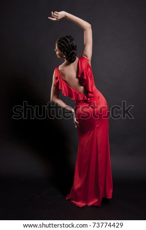 Spanish woman in red dress
