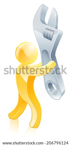 Spanner or wrench gold man illustration. A mascot man holding a big spanner - stock photo