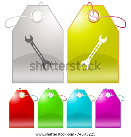 Spanner. Raster tags. Vector version is in my portfolio. - stock photo