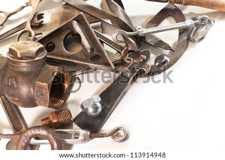 Spanners, tap, drill, nut, protractor on a white background - stock photo