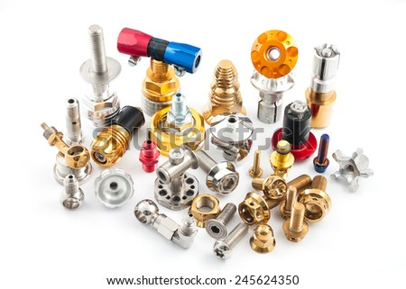 Spare part of motorcycle,bolt nut screw and etc, for decorating and maintenance on white background - stock photo