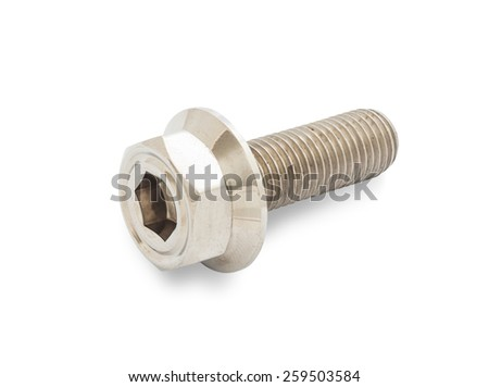 Spare part of motorcycle,bolt nut screw for decorating and maintenance with clipping path on white background - stock photo