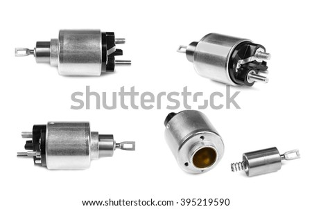 Spare parts for the starter to the car on a white background. Collage image is composed of several photographs. - stock photo