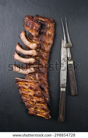 Spare Ribs on Black Background - stock photo