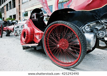Spare wheels at handmade sport car