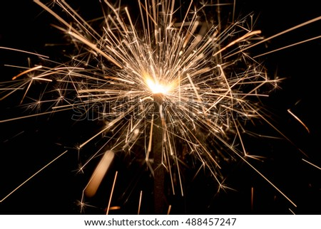 sparking fire on black background.photo