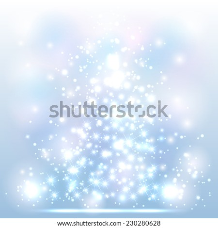 Sparkle Christmas background with shine stars and blurry lights, illustration. - stock photo
