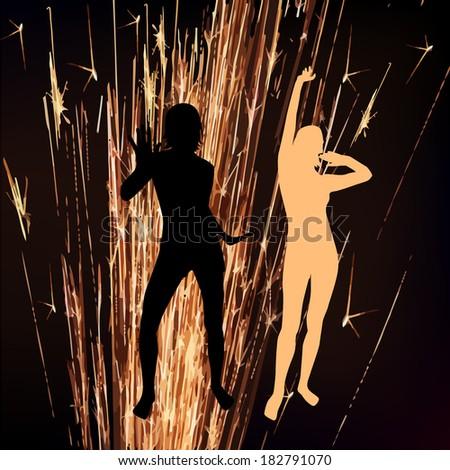 sparkler dancing girls. Raster - stock photo