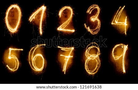 sparkler numbers from zero to nine