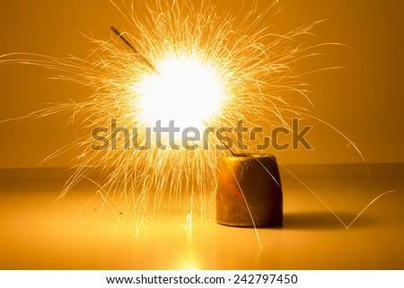 sparkler on the white background - stock photo