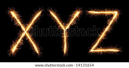sparklers forming letters, X Y Z (see more letters in my portfolio) - stock photo