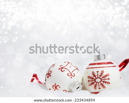 Sparkling Christmas background with red Christmas decorations - stock photo