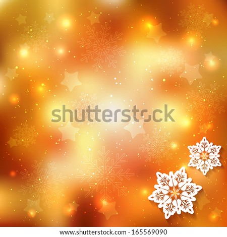 Sparkling Christmas Background with Star Snowflake - stock photo
