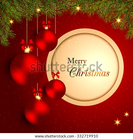 Sparkling Christmas Crystal Ball on Red Background - stock photo
