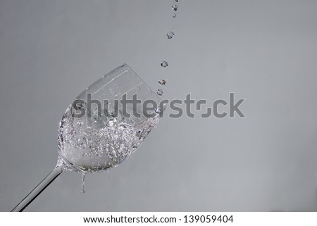 sparkling drops in water and wine glass