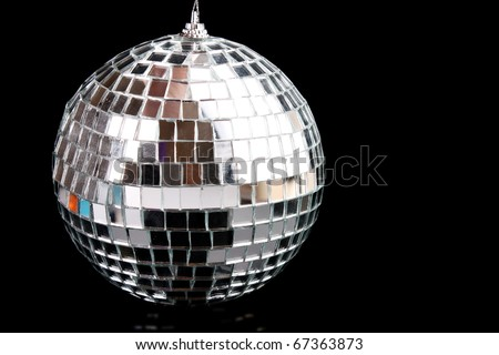 Sparkling glass disco ball isolated on black