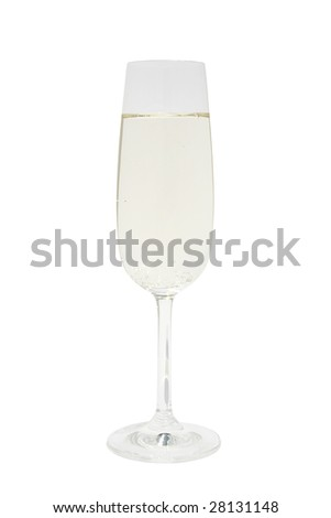 Sparkling glass with champagne on white background