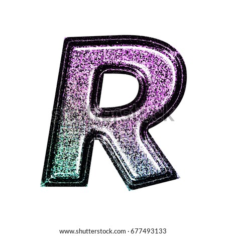 Sparkling Ink Stamped Grunge Style Purple To Blue Gradient Uppercase Or Capital Letter R In A