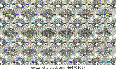 Sparkling large Diamonds or gems in rows. high resolution 3d render