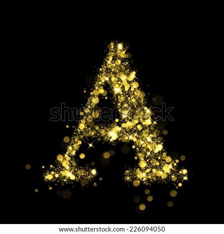 Sparkling Letter A on black background. Alphabet of golden glittering stars (glittering font concept). Christmas holiday illustration of bokeh shining stars character.. - stock photo