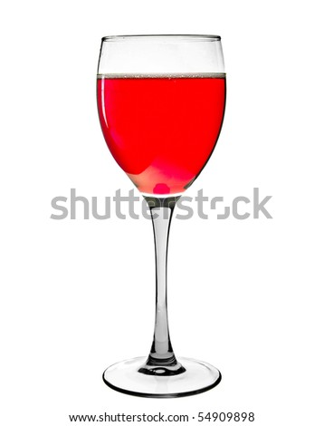 sparkling red wine  in a glass isolated on a white
