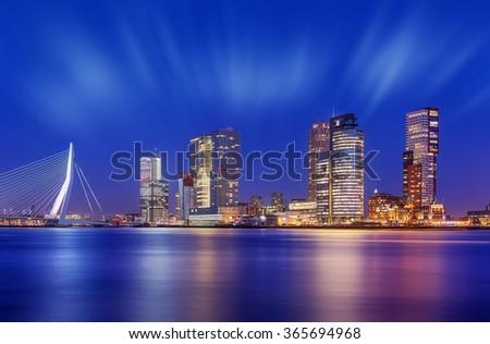 Sparkling Rotterdam Skyline at Twilight, The Netherlands. - stock photo