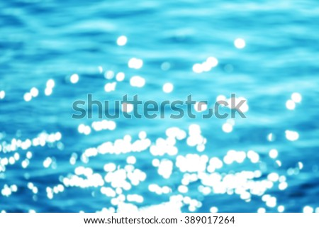 Sparkling water background / Summer beach abstract photo / Blinking blue water for you design with natural bokeh - stock photo