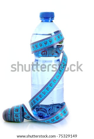 Sparkling water with measuring tape isolated on white