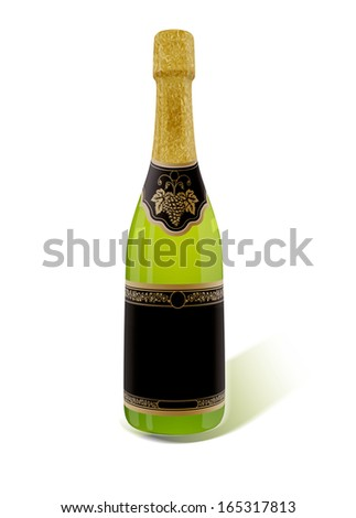 Sparkling White Wine Bottle, Champagne isolated on a white background