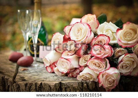 Sparkling wine and glasses in the fall park, composition for a romance picnic or anniversary. - stock photo