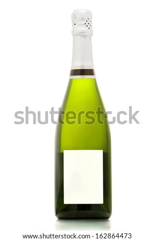 Sparkling wine bottle isolated on white background.