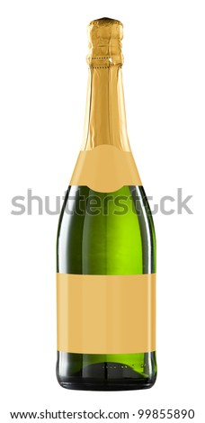 Sparkling wine bottle isolated with blank label for your text or logo.Clipping path included - stock photo