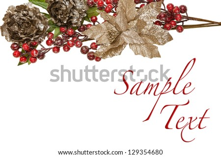Sparkly Pewter Flowers Shiny Red Berries and Gold Leaves Border with Copy Space