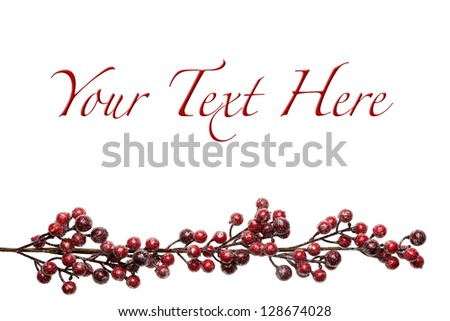 Sparkly Red and Silver Berries on Branch Background with Copy Space