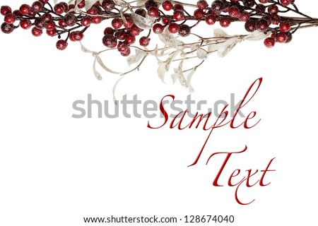 Sparkly Red Berries and Silver Glitter Pearl Leaves Border with Copy Space