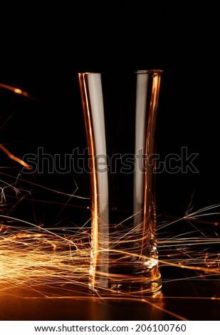 Sparks around the glass  - stock photo