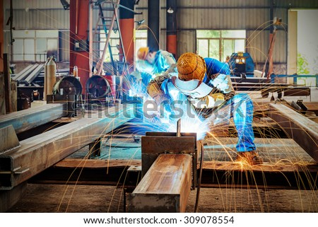 Sparks from the cutting of steel produced
