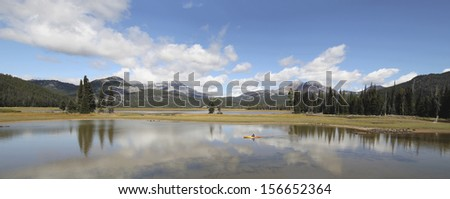 Sparks Lake in Deschutes National Forest Oregon with Three Sisters Mountains and Water Reflection Panorama - stock photo