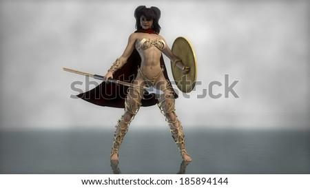 sparta female warrior - stock photo