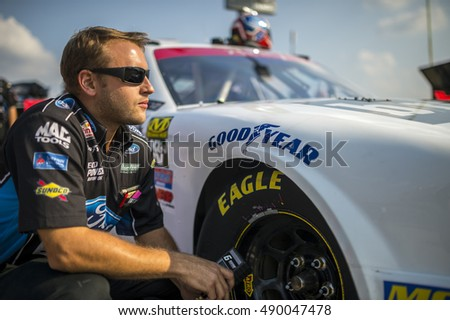 Sparta, KY - Sep 24, 2016: Crew members for Darrell Wallace Jr. work on the #6 Bleacher Report Ford  during the VisitMyrtleBeach.com 300 weekend at the Kentucky Speedway in Sparta, KY.