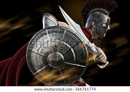 Spartan charge ,Spartan warrior in Battle dress attacking . Photo realistic 3d model scene. - stock photo