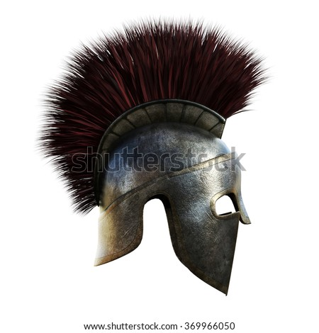 Spartan helmet on an isolated white background. - stock photo