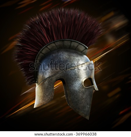 Spartan helmet with an abstract light ray black background. - stock photo