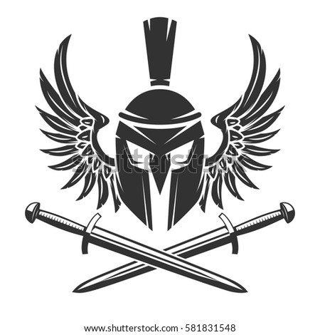 Spartan Helmet Crossed Swords Wings Isolated Stock Vector